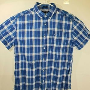 Tommy Hilfiger Blue And White Plaid Short Sleeve